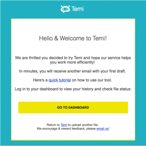 temi welcome email